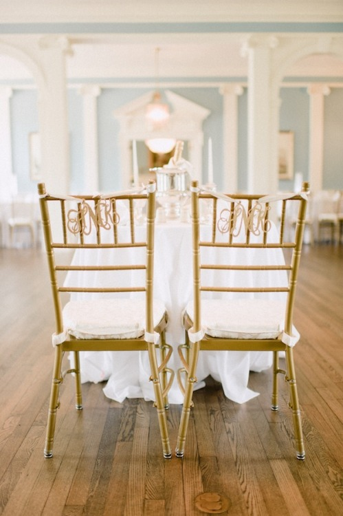 Monograms and chiavari chairs — I'm in wedding heaven.