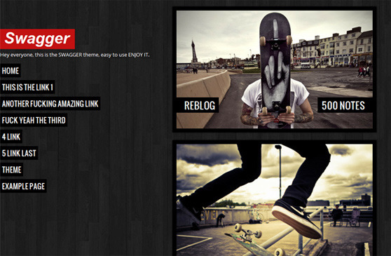 rickerlrthemes:  Get your free copy of SWAGGER THEME!! Swagger theme, the awesome one column theme! (it won't be free forever) INSTALL | PREVIEW