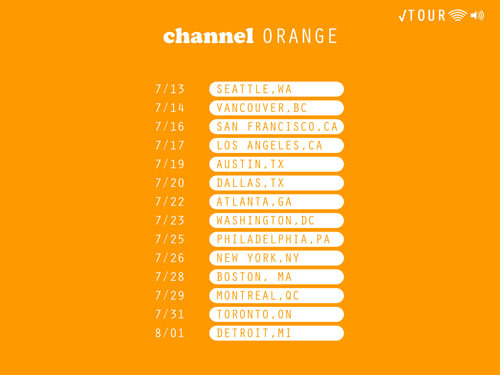 dates for frank ocean's future channel orange tour!