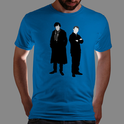 "qwertee:  ""John and Holmes"" is today's tee on www.Qwertee.com Get this great design now for the super price of £8/€10/$12 for 24 hours only. Be sure to ""Like"" this for 1 chance at a FREE TEE this weekend, ""Reblog"" it for 2 chances and ""Follow"" us for a 3rd chance (if you're not already:) Thanks Guys!"