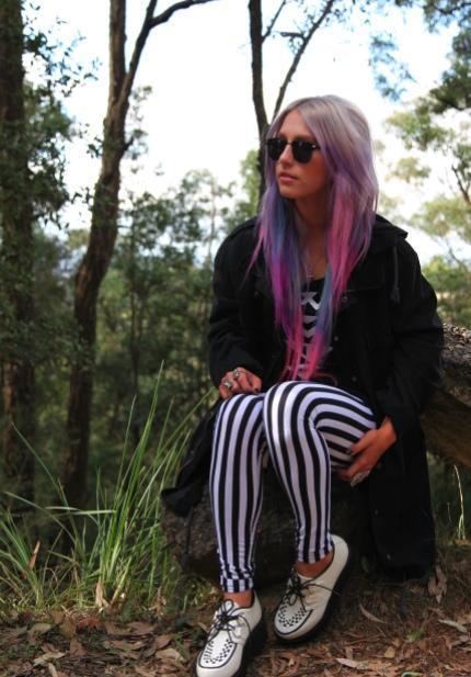 Purple Stripes in Hair Purple Hair Wearing Black