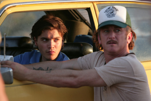 Emile Hirsch and Sean Penn on-set of Into the Wild (2007)