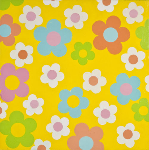 "Flower Power in Yellow ( ""Flower Power"" en jaune ) Acrylique sur toile, 91cm x 91cm, 2012"