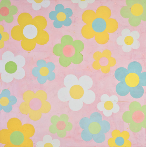 "Flower Power in Pink ( ""Flower Power"" en rose ) Acrylique sur toile, 91cm x 91cm, 2012"