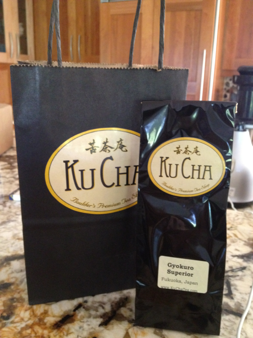 Pic of the packaging for my Gyokuro from Ku Cha. If you're ever on Pearl Street in Boulder, CO you should take a peak into the shop! Very friendly service and a beautiful setup. I also saw several tea pot sets I wanted.