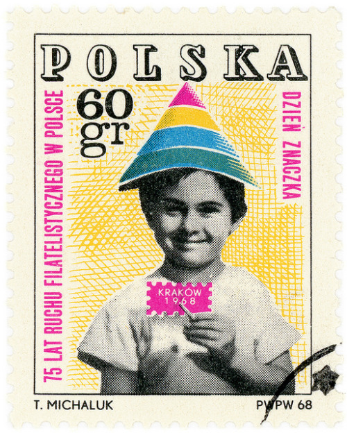 "stampdesigns:  Poland postage stamp: child in party hat c. 1968, commemorating ""75 Years of Polish Philately"" designed by Tadeusz Michaluk"