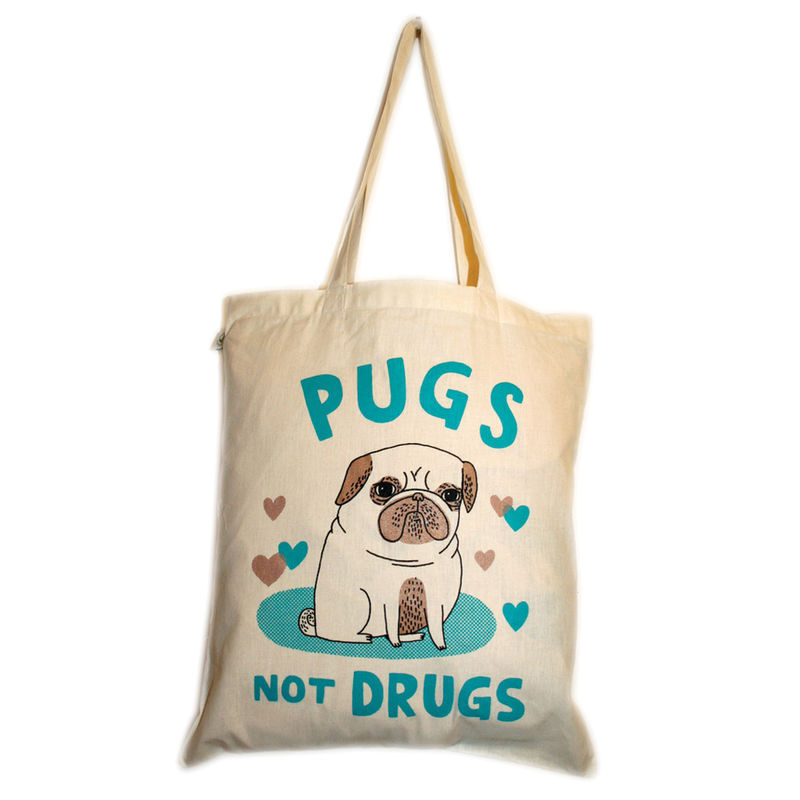 "Tote bag with my ""Pugs Not Drugs"" design, screenprinted in 3 colours.   Gemma Correll. :)"