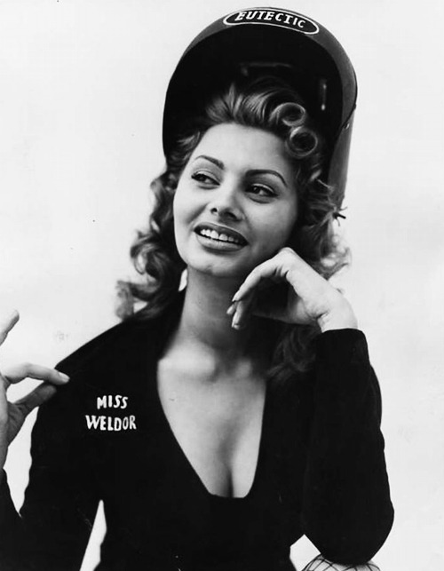 Sophia Loren was selected as Miss Welder of 1954 by the National Eutectic Welders' Club