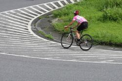 me riding up a hairpin during the bei-yi race