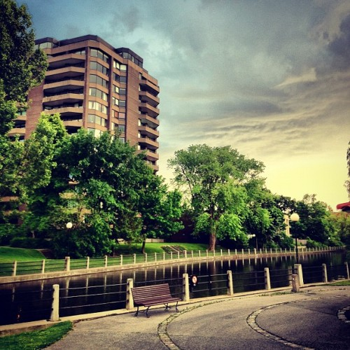 #river #bench #sky #sunset #trees  (Taken with Instagram)