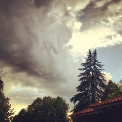 I think I am about to get #rainedon #storm #trees #clouds  (Taken with Instagram)