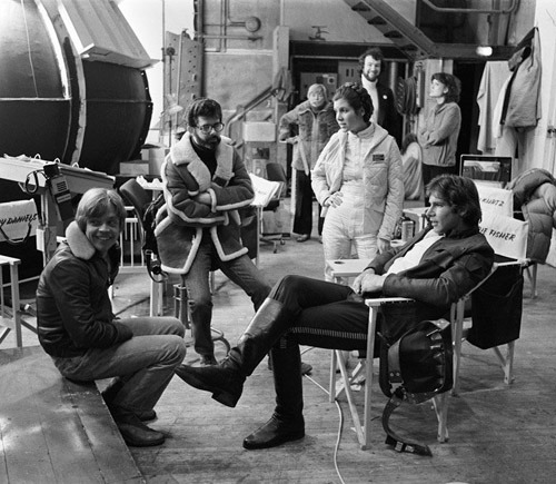 soundonsight:  Mark Hamill, George Lucas, Carrie Fisher and Harrison Ford on the set of The Empire Strikes Back.