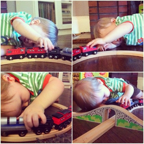 anders obviously loves his new train set.