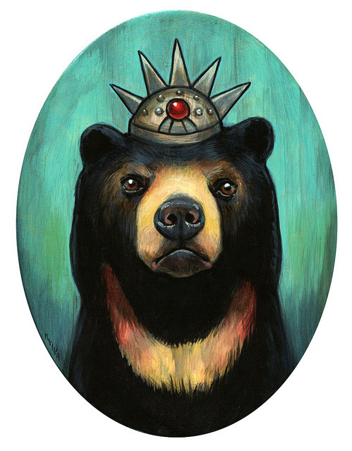 """Royal Sun Bear"" on Flickr.My ""Royal Sun Bear"" painting for the Thinkspace ""Wild at Heart"" show. Closing reception is tomorrow evening, 6-9-12"