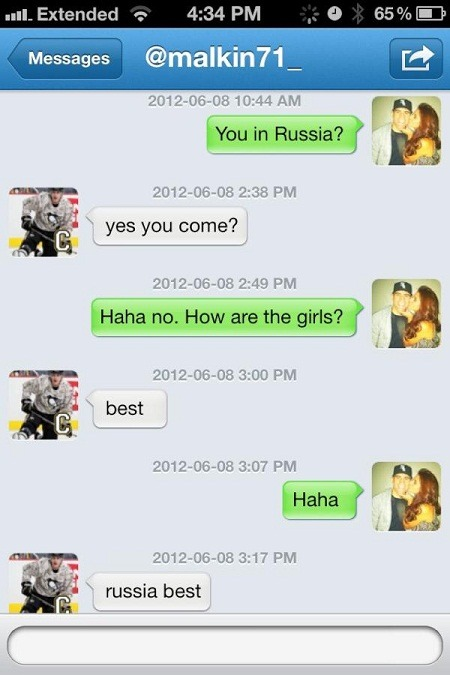 """Russia Best"": Here's a screencap of Paul Bissonnette's recent Twitter exchange with Penguins forward Evgeni Malkin (aka: The Patriot)."
