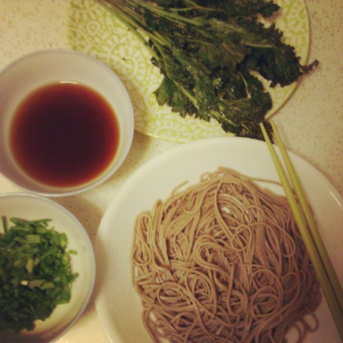 Cold soba with side of roasted crispy home grown kale drizzled with sesame oil. (Taken with Instagram)