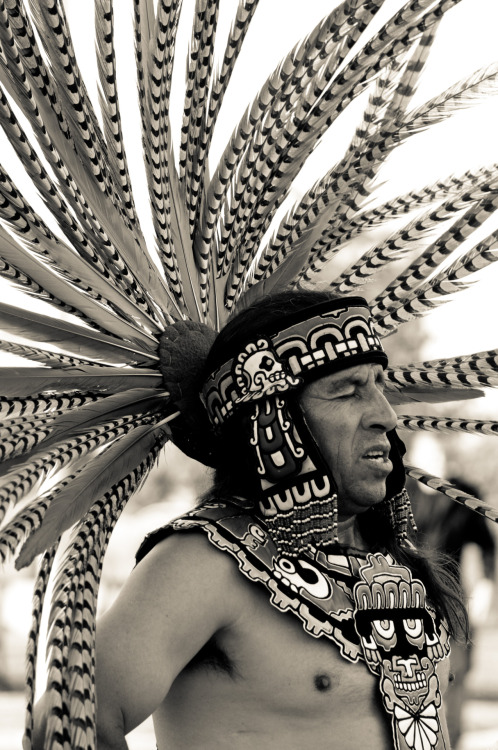 lensblr-network:  Grupo Tlaloc Aztec dancer Manual Cabral pauses as another dancer waves incense over graduates from La Academia in inner city Denver, CO. by denverstreetphotog.tumblr.com