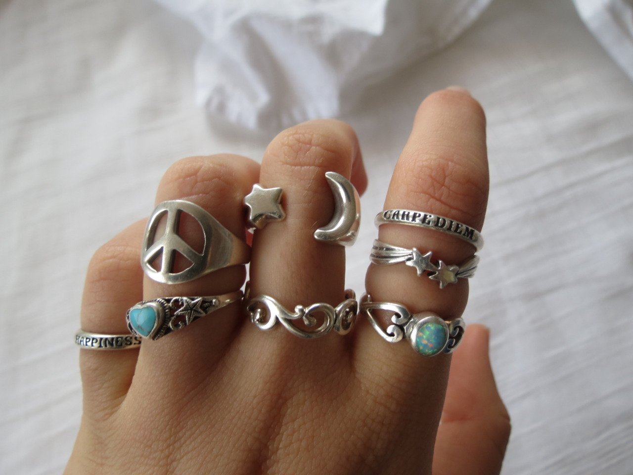 bohemian-life:  the-coconut-shredder:  peach-sunset:  all my fave rings :)   omg these are the nicest rings ive ever seen  omg. woow. they all look so nice! i want themmm. don't make me jealous, girl :)