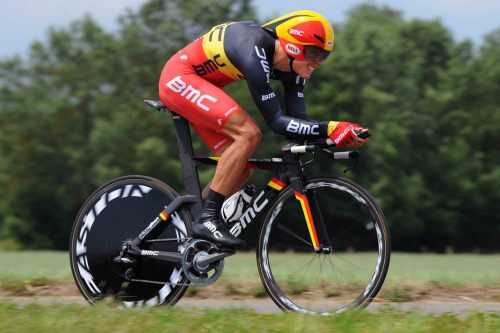 Phil Gilbert in TT mode at Critérium du Dauphiné. via BMC Racing Team.