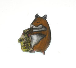 Watch this hamster play the sax. I made this saxophone playing hamster magnet out of shrinky dinks. I sell it on Etsy: https://www.etsy.com/listing/101711271/animal-magnet-hamster-saxophone