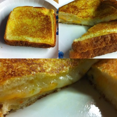 Ahhhhh the simple joys of a grilled cheese sandwich. #iphone #iphoneography #photooftheday #picoftheday #bestoftheday #sandwich #grilled #cheese #twokindsofcheese #vermontwhitecheddar #3peppercolbyjack #makesmehappyontheinside  (Taken with Instagram)