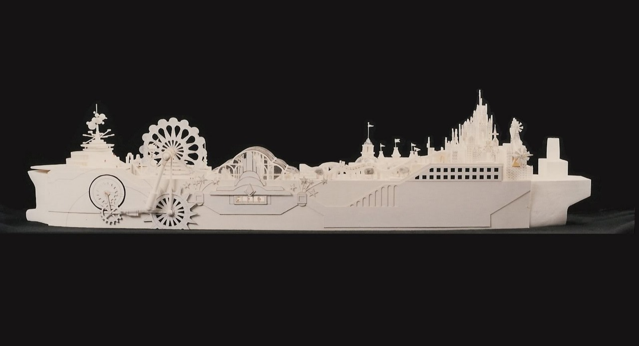 ralfmaximus:  You're looking at a concept model for the S.S.Disney, a converted oil tanker that would have been a floating version of Disneyland travelling around the globe. No, seriously. The plan was hatched in the early 1990s but never went anywhere.  Oh. My. God.