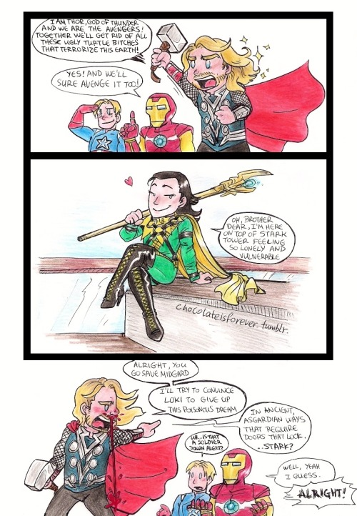 "chocolateisforever:  What if Loki had his ""Ultimate Loki"" suit on in the Avengers?? :D (This thought firstly popped in my head when Tom Hiddleston posted this pic of Marvel's Ultimate Loki on his twitter as one of his inspirations for the role of Loki: http://twitter.com/#!/twhiddleston/media/slideshow?url=pic.twitter.com%2Fo44Pqivv ) But guys. THIGH HIGH BOOTS. SERIOUSLY NOW."