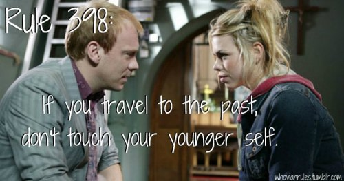 Rule 398: If you travel to the past, don't touch your younger self. Submission! [Image Credit] **Note: I did try to screen shot a decent picture of Rose holding baby Rose, but it just wasn't happening tonight. Of course, this might have been where I've misplaced my glasses, but I do like this one.**