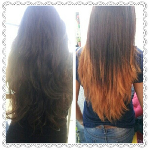 #before and #after! #ombre #hair! #summer #red #blonde #laired #hairstyle (Taken with Instagram)