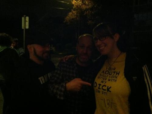 dearstevejames:  trey, me, H. Jon Benjamin pointing at the dirty t he sent me and then signed (but really it looks like he's pointing at my boob that looks bigger than his head)