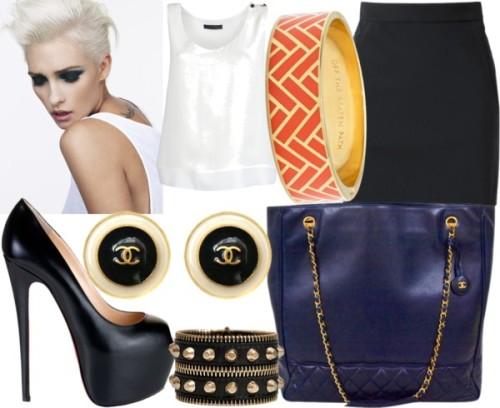 Simple Work Day by emsaxx featuring studded jewelryThe Row sleeveless top, £359The Row short skirt, £415Christian Louboutin high heel pumps, $1,075Chanel leather handbagChanel earringsVersace studded jewelry, €314Kate spade bangle, $128