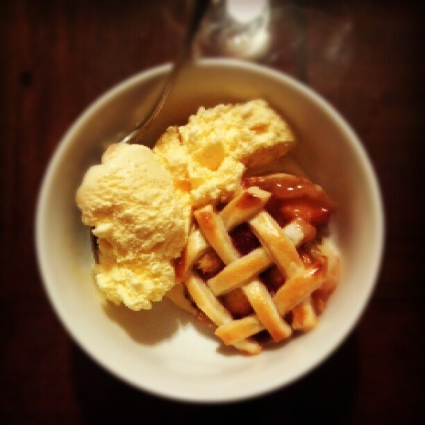 Dinner: mini peach and raspberry pie with vanilla ice cream (at 10:30pm.) (Taken with Instagram)