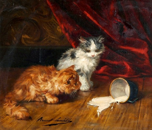 Alfred Arthur de Brunel de Neuville Kittens and a Cup of Spilled Milk 19th century