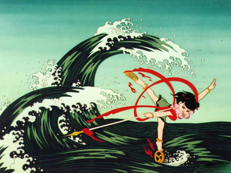 From the 1979 Chinese animated movie Nezha Riots the Seas (哪吒闹海)  The film is an adaptation of a story in Chinese mythology about the warrior deity Nezha, who became a student of the immortal Taiyi Zhenren. The main part of the story revolves around Nezha's feud with Ao Guang, the Dragon King of the Eastern Sea, whom he angers through the killing of Ao Bing, Ao Guang's third son. Through bravery and wit, Nezha finally breaks into the Dragon King's underwater palace and successfully defeats him.  It's been years since I lasted watched this. I'd forgotten how beautiful the cell-shaded animation was. Caps are going up soon.