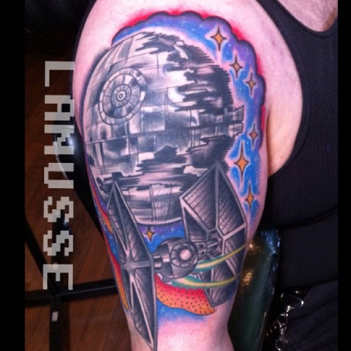 That's no tribal bear, that's a space station! #tattoos #traditional #coverup #starwars (Taken with Instagram at Forest moon of endor)