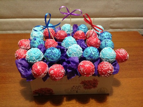 blue and red sprinkled cake pops