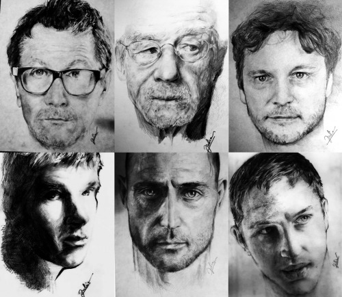 "some of my old stuff. ""Tinker Tailor Soldier Spy"" cast. Together, in different styles, with different tools (pencil, charcoal, sauce-crayon) btw: Colin Firth now belongs to fronkensteen  ;o)"