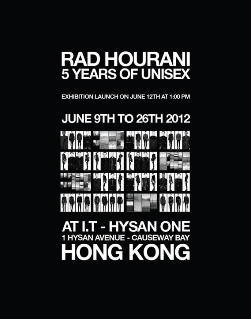 Rad Hourani: 5 Years of Unisex exhibition launches today at I.T Hysan One in Causeway Bay, Hong Kong.