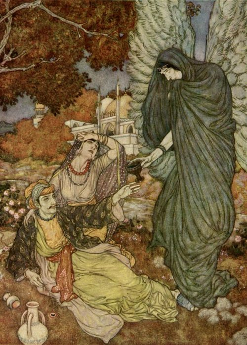 equinoxes:  earthoscope:  Edmund Dulac - Illustration for The Rubáiyát of Omar Khayyám  So when at last the Angel of the drink Of Darkness finds you by the river-brink, And, proffering his Cup, invites your Soul Forth to your Lips to quaff it - do not shrink.