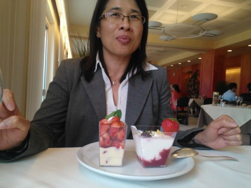 Juliette's dessert (strawberries served over custard and berry compote and creme fraiche)