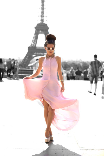 Dreaming of Paris!   Virgos Lounge Flossy Dress, Missguided Cream Heels & Zara Sunglasses (image: befrassy) via what-do-i-wear  LIKE Us On FB