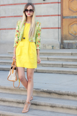 must-have-outfits:  cute jacket, nice heels what-do-i-wear:  dress-J.Crew, jacket- Todd Oldham via The Fine Art of Design, shoes-Loeffler Randall, bag-c/o Pour La Victoire, necklace-c/o Karen London, bracelets- Ruche (image: lateafternoon)