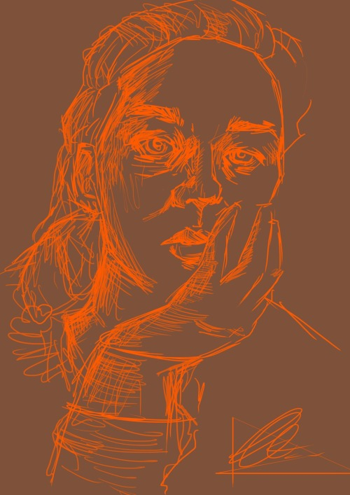 like 10min self portrait in photoshop. I was bored of all my pencil drawing, that and I freaking love drawing with orange right now.