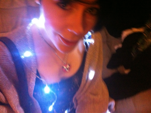 wearing battery-powered fairy lights. look exactly like space.