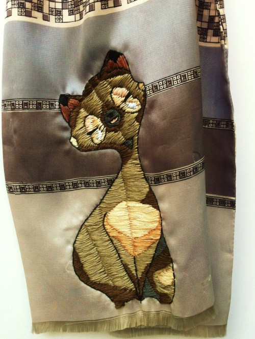 Cecil (detail) Hand stitching on vintage scarf. COMING TO NEW DESIGNERS 2012!