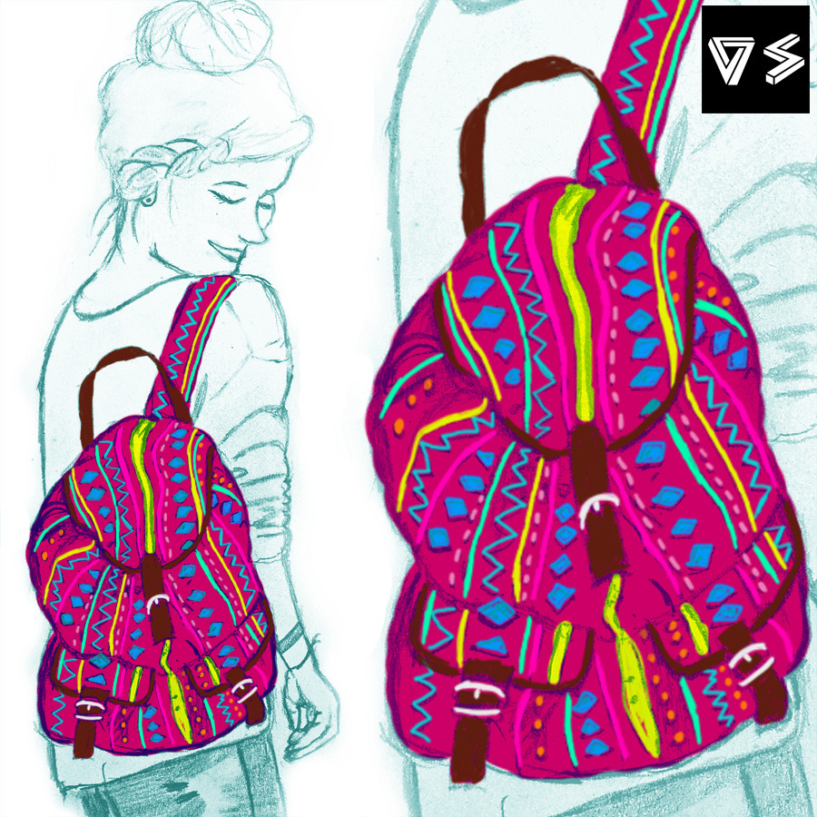Mochila con motivos aztecas. Dibujo a lápiz y digital. Backpack with aztec pattern. Pencil and digital drawing Sígueme en facebook/follow me in facebook: hurlyburlyp.blog