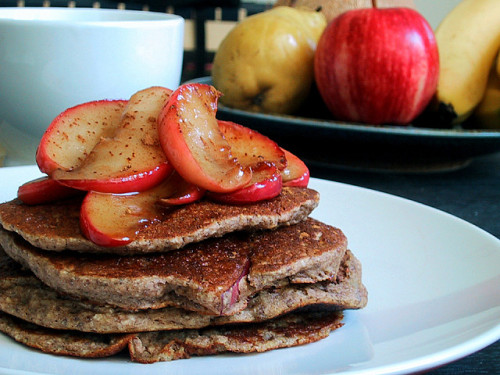 have-no-self-doubt:  Apple Cinnamon Protein Pancakes You'll Need: 1/3 cup oats 1/3 cup egg whites 1/2 an apple - grated or chopped  1 scoop vanilla protein powder  1/4 tsp cinnamon  1/4 tsp vanilla extract  Directions: In a bowl, mix together oats, egg whites, protein powder, cinnamon, and vanilla extract. Fold in the chopped or grated apple pieces. Pour half of the mixture on a pan or griddle sprayed with non-stick cooking spray over medium heat.  Flip until they become golden brown on both sides. Top with extra apple slices and syrup or natural nut butter and enjoy :)
