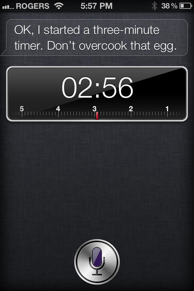 Siri getting cheeky while setting a timer