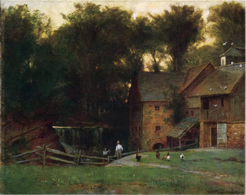 poboh:  The Mill, Simsbury, Conn, Thomas Worthington Whittredge. American Hudson River School Painter (1820 - 1910)