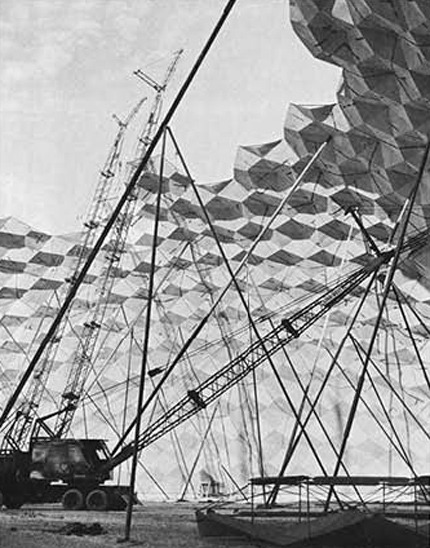 alwaysunderconstruction:  Buckminster Fuller, Baton Rouge, 1958  The Union Tank Car Dome was designed by TC Howard of Synergetics, Inc and engineered by Dr. ME Uyanik.  Bucky merely held the patent to geodesic dome geometry.